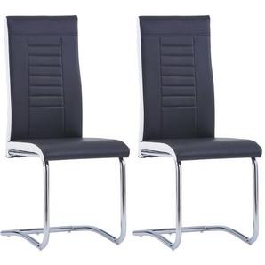 Chaises de salle a manger 2 pcs Noir Similicuir - ASUPERMALL