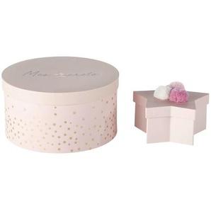 2 boîtes rondes et étoiles en carton rose