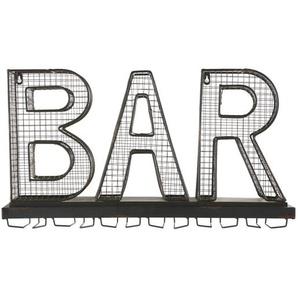 Porte-verres mot bar en métal noir effet rouillé