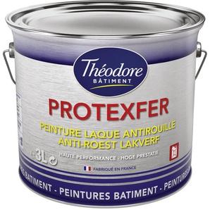 Peinture laque antirouille haute performance pour métaux : Protexfer brillant - RAL 9002 Blanc gris - 3L - PEINTURES THEODORE