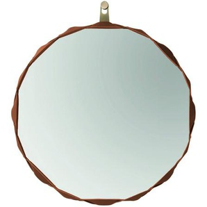 Zanotta Raperonzolo - Miroir Ø 69cm - violette/cuir/étoffe Alcantara/face interne avec étoffe couleur d'or