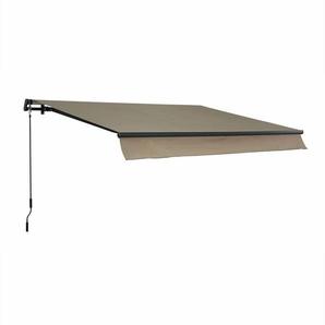 Store banne Alombra 3x2m taupe, aluminium, système manuel, sans coffre, 295cm, toile polyester enduite 280g - ALICES GARDEN