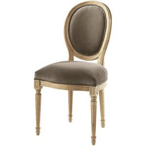 Chaise médaillon en velours et chêne massif taupe Louis