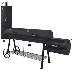 Hommoo Barbecue au charbon de bois avec étagère inférieure Noir XXXL