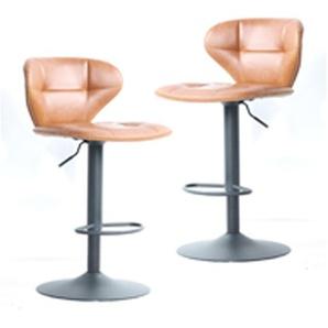Lot de 2 chaises de bar vintages marron pied central réglable
