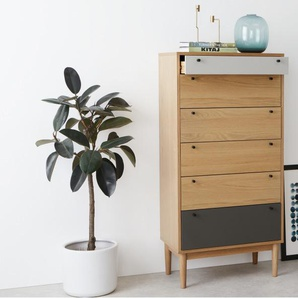 Campton, commode multi-tiroirs haute, chêne et gris