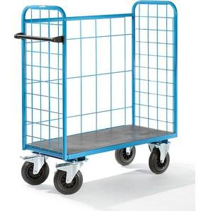 EUROKRAFT Chariot universel à tablettes, force 500 kg - grillagé sur 3 côtés - dim. ext. 1220 x 500 x 1300 mm