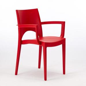 Chaise avec accoudoirs en polypropylène bar restaurant PARIS ARM Grand Soleil | Rouge