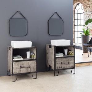 Meuble salle de bain industriel gris - petit modèle