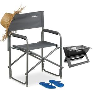 Chaise de metteur en scène avec logo chaise de camping pliable en alu 120 kg charge maximale festival pêche 120 kg, LxHxP : 85,5 x 56 x 45 cm, gris - RELAXDAYS
