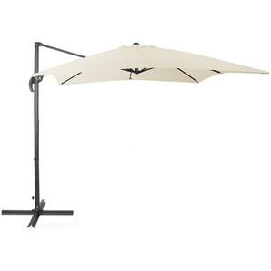 Parasol carré à pied déporté gris et toile beige clair - BELIANI