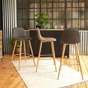 Chaise de bar scandinave en tissu beige, pieds compas