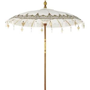 Ombrelle en teck et coton écru motifs dorés Ubud