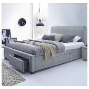 Lit moderne gris 160 x 200cm avec sommier Moreno
