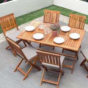 Salon de jardin Table et 6 chaises en bois marron CENTO