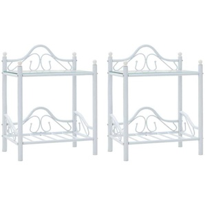 Table de nuit chevet commode armoire meuble chambre 2 pcs acier et verre trempé 45x30 5x60 cm blanc - Blanc - HELLOSHOP26