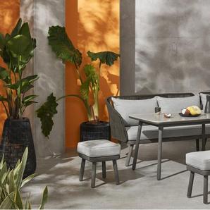 Alif, ensemble table et chaises d'angle d'extérieur, tissu gris et bois d'eucalyptus gris - Tables et chaises de jardin - Jardin