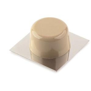 6 Butoir de porte adhésif REI, en plastique, avec finition chrome brillant / crème, forme circulaire et design classique
