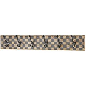 Patère 6 crochets en manguier motif damier et métal