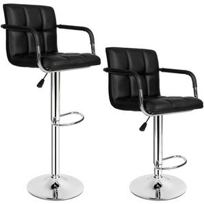 Lot de 2 Chaises de Bar avec Accoudoirs Pivotantes et réglables en Hauteur 62,5 cm - 82,5 cm Noir - TECTAKE