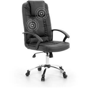 Fauteuil massant - chaise de bureau - cuir noir - RELAX