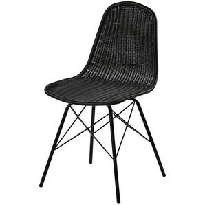 Chaise de jardin en acier et résine tressée noire Beckett