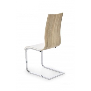 Chaise design blanche et bois luge Betty