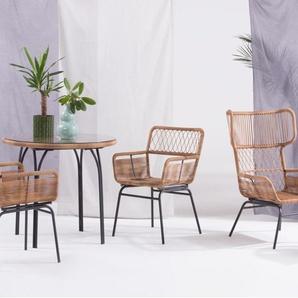 Lyra, set de deux chaises, naturel et gris anthracite
