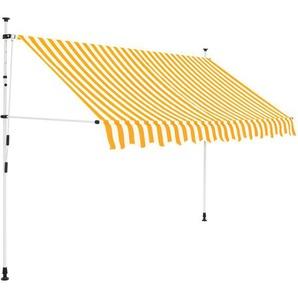 Auvent rétractable manuel 300 cm Rayures jaunes et blanches - VIDAXL