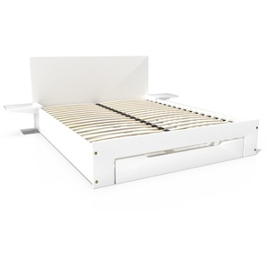 Lit Happy + tiroirs + chevets amovibles - 2 places 140x190 Blanc