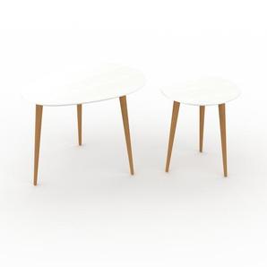 Tables basses gigognes - Blanc, ovale/ronde, design scandinave, set de 2 tables basses - 67/40 x 47/44 x 50/40 cm, personnalisable