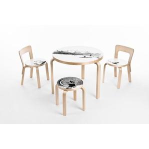 Artek Tabouret enfant NE60 - pieds bouleau / assise blanc stratifié