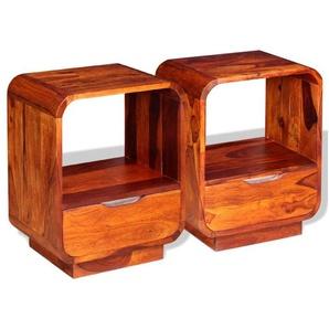 Table de nuit chevet commode armoire meuble chambre avec tiroir 2 pcs bois de sesham 40 x 30 x 50cm - Bois - HELLOSHOP26