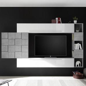 Ensemble meuble TV mural blanc et gris béton LICATA