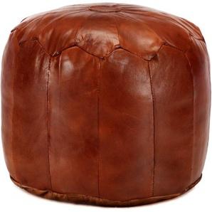 Pouf 40 x 35 cm Brun roux Cuir véritable de chèvre - VIDAXL