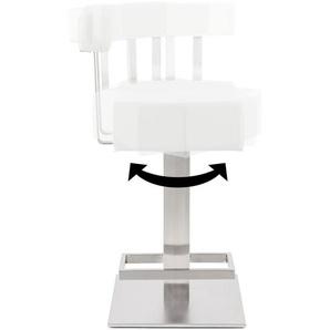 Tabouret snack mi-hauteur PLUBA en matière synthétique blanche