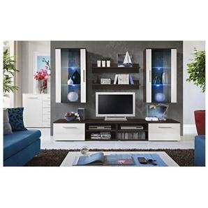 Ensemble meuble salon GALINO G design, coloris wengé et blanc. Meuble moderne et tendance pour votre salon. - PRICE FACTORY