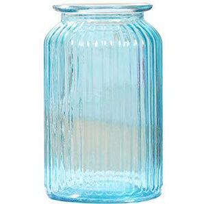 Chakil Vase Grand Rayure Verre,Vase pour Plante Fleurs Décorations De Bureau à Domicile Size 11cm*18.5cm (Bleu)