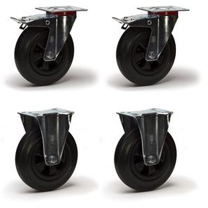 Lot roulettes pivotantes à frein et fixes caoutchouc noir 250mm 885kg - 2GT