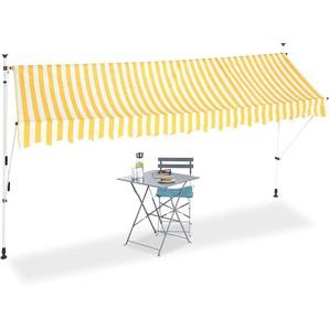 Auvent rétractable Store 400 cm balcon marquise soleil terrasse hauteur réglable sans perçage, jaune-blanc - RELAXDAYS