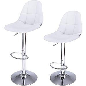 2 x Tabourets de bar Chaises Hauteur réglable rotatif Blanc LJB68W - SONGMICS