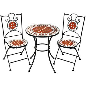 1 Table de Jardin et 2 Chaises Pliables Mosaïque en Céramique Blanc Marron Noir - TECTAKE