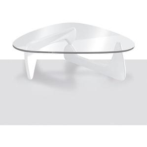 Table basse design blanc laqué et verre trempé CELESTINE 2