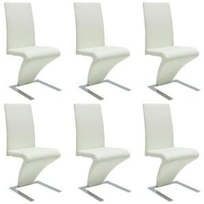 Chaise à dîner avec pieds en fer 6 pcs Similicuir Blanc