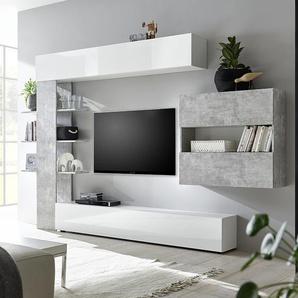 Ensemble meubles tv blanc et béton SOPRANO 2