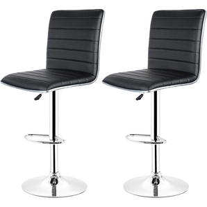 Lot de 2 Chaises de Bar Pied en Métal Pivotantes et Réglables en Hauteur 55 cm - 75 cm Noir - OOBEST