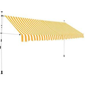 Auvent rétractable manuel 400 cm Rayures jaunes et blanches - VIDAXL