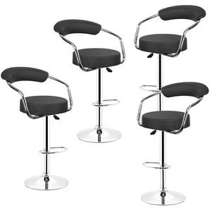 Lot de 4 Tabourets de Bar Noir Style Contemporain Réglable en Hauteur et Rotatif - OOBEST