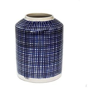 Hunter & Co. Grande Bleu et Blanc Cyclindrical Hadley Vase avec Motif Criss-Cross Moderne Décoration en Céramique 28cm de Haut