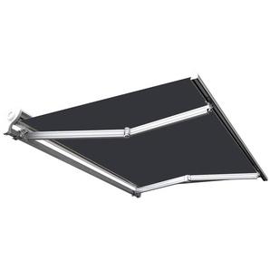 Store banne manuel Demi coffre pour terrasse - Gris anthracite - 4 x 3 m - SUNNY INCH ®